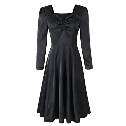 Mujer De Manga Larga Vestido De La Cintura Del Color Sólido Ponga Un Vestido Grande Black