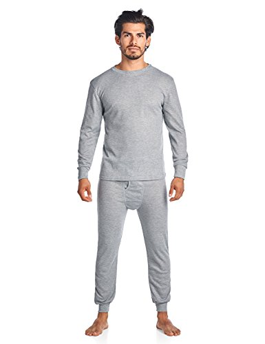 Casual Nights Men's Wicking Thermal Underwear Top & Bottom PJ Set - Grey - X-Large