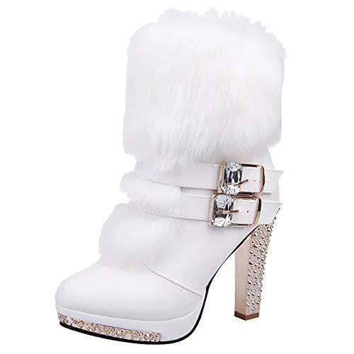 Women Wedge Rhinestone Middle Tube Leather Boots Zipper High Heels Shoes White