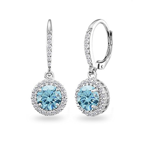 Sterling Silver Light Blue Round Halo Dangle Leverback Earrings Made with Swarovski Crystals