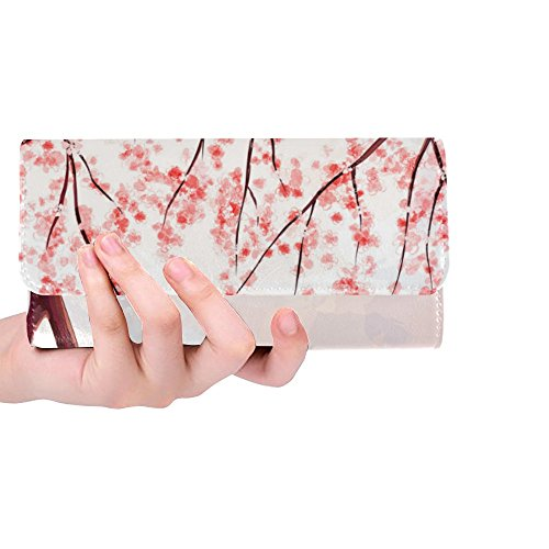 InterestPrint Custom Womens Wallets Cherry Blossom Trifold Wallet Long Clutch Purse Great Gift For Girl