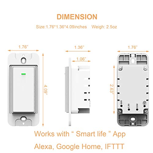 Smart Wifi Light Switch, No Hub Required, Phone Remote Control Wireless Decora Switch, Requires Neutral Wire, Timing Schedule, Compatible with Alexa and Google Home Kuled K36 (2pack) by KULED (Image #1)