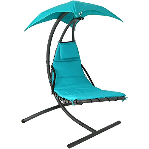 Sunnydaze Floating Chaise Lounger Swing Chair with Canopy, 79 Inch Long, Teal, 260 Pound Capacity