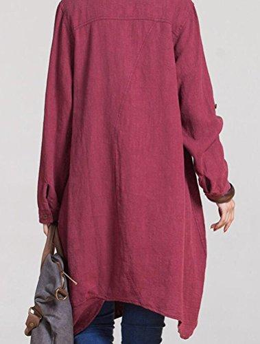 Manica Camicetta Rosso Camicie Camicia Scollo V Vino T Top Lunga Basic Mallimoda Shirt Donna Casuali EtHqwn4