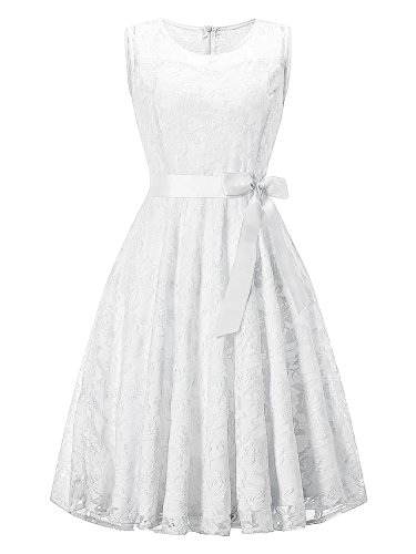 KT Vestido Fiesta Retro sin con Blanco Elegante Cóctel Mujer Lazo Mangas Noche Encaje SUPPLY Boda AAq5Brw4