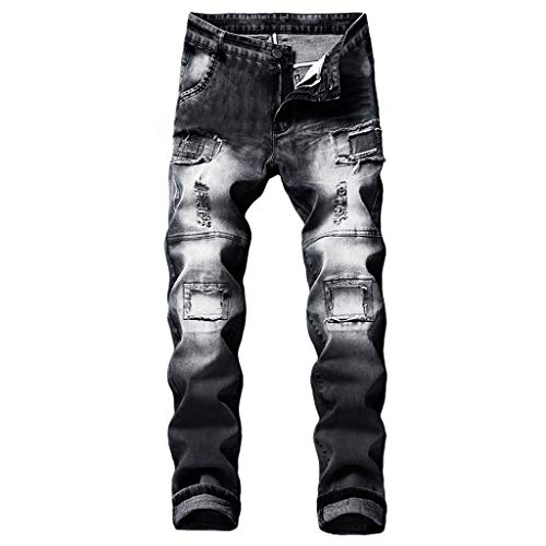 NUWFOR Men's Stretchy Ripped Skinny Biker Jeans Destroyed Taped Slim Fit Denim Pants(Black,US:33/AS:34 ()