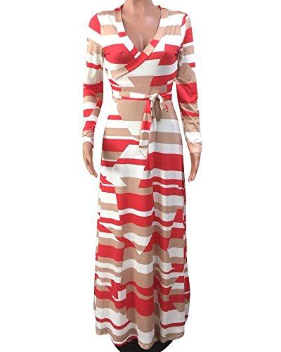 Vestido de Las Mujeres de Boho de Verano Maxi Largo del Partido de Tarde Vestido Estampado Cuello en V Manga Larga Blanco