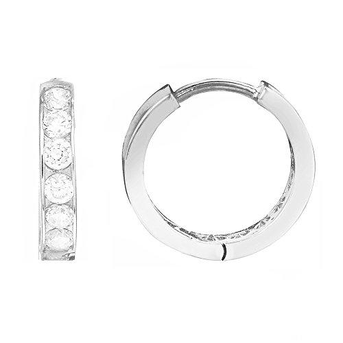 Ritastephens 14K Solid White Gold Baby Kids Huggie Hoop 2x10mm Cubic Zirconia Channel Set Earrings -