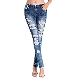 Respctful Clearance! Denim Women Sexy Skinny Pants High Waist Destroyed Stretch Ripper Casual Slim Fit Jeans with Pocket