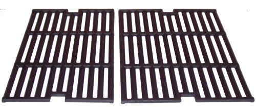 Outdoor Set Cooking Gourmet (Music City Metals 64022 Matte Cast Iron Cooking Grid Replacement for Gas Grill Model Outdoor Gourmet BQ04022, Set of 2)
