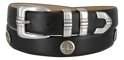 North Carolina Men's Genuine Leather Belt With Golf Concho In Smooth Black(SBLK,50)