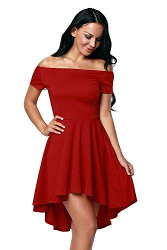 Farbbrillanz Outlet zum Verkauf Mode Touchie Damen Schulterfreies Kleid Skaterkleid Kurz Cocktailkleid Abenkleid  Festlich Partykleid