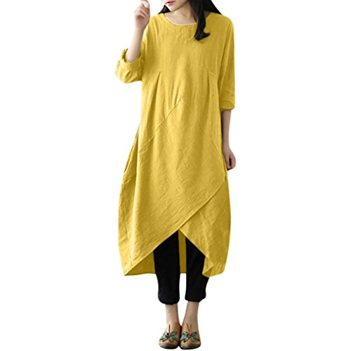 (Realdo Women Solid Cotton Linen Dress, Vintage Long Sleeve Mid-Calf Dress Plain(Yellow,XXXX-Large))