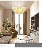 LED Modern Glass Chandelier American Leaf Ceiling Lights Fixture Home Indoor Lighting Dining Room Living Room Hanging Lamps Lampshade L