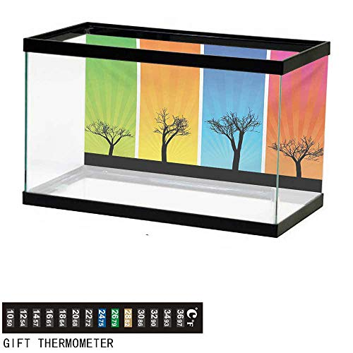wwwhsl Aquarium Background,Tree,Colorful Banners with Autumn Foliage Silhouettes Environmental Themed Illustration,Multicolor Fish Tank Backdrop 30