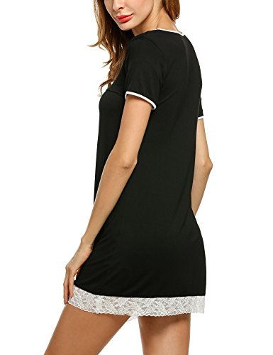 Hotouch Camicia Donna Da Pizzo Cotone Vestito Notte Di Con Corta Ornamento schwarz Manica 3typ1 Biancheria Line Nobile A rpqtp