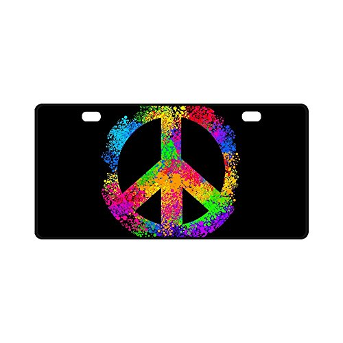 INTERESTPRINT Cool Hippie Peace Sign Symbols Metal License Plate Tag Sign Decor for Car Woman Man - 11.8