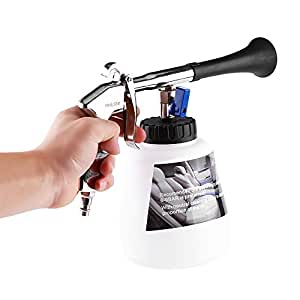 Delaman Car Cleaning Gun Interior High Power Pressure Air Pulse Washer Nozzle Sprayer Brush Tool with Foam Bottle