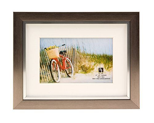 BorderTrends Legacy 6x8/4x6-Inch Photo Frame, Silver with White -