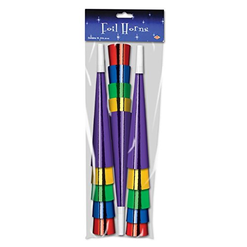 Club Pack of 100 Bright Multi-Colored New Year's Eve Foil Trumpet Horn Party Favors 9'' by Party Central
