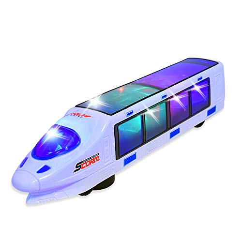 WolVol Beautiful 3D Lightning Electric Train Toy for Kids with Music, goes Around and Changes Directions on Contact