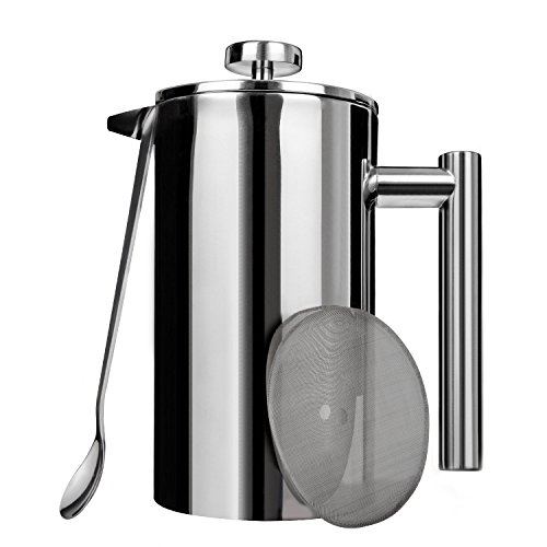 AMOVEE French Press Coffee Maker Tea Maker, 304 Stainless Steel Double Insulation, with Mixing Spoon and Bonus Screen (1 Liter, 34 oz) by AmoVee