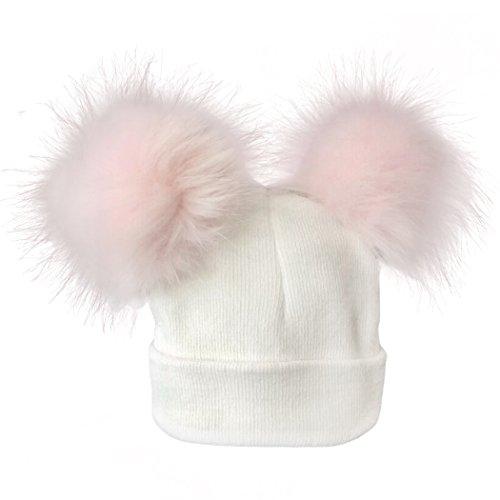 FUNOC Baby Faux Raccoon Fur Pompom Hat Infant Bobble Hats Kids Knit Hat Cap