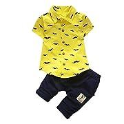 Sunward Newborn Baby Boy Outfit, 2PCS Toddler Short Sleeve Beard Print T Shirt Set & Pants (12M, Yellow)
