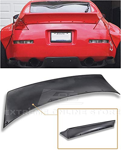 Replacement for 2003-2008 Nissan 350Z Fairlady Z34 | EOS Rocket Bunny Style Fiberglass Primer Black Duckbill Rear Trunk Lid Wing Spoiler ()