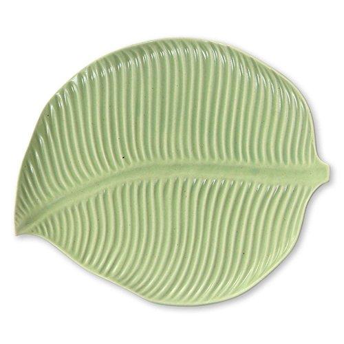 NOVICA 254771 Jungle Banana Leaf' Ceramic Plate