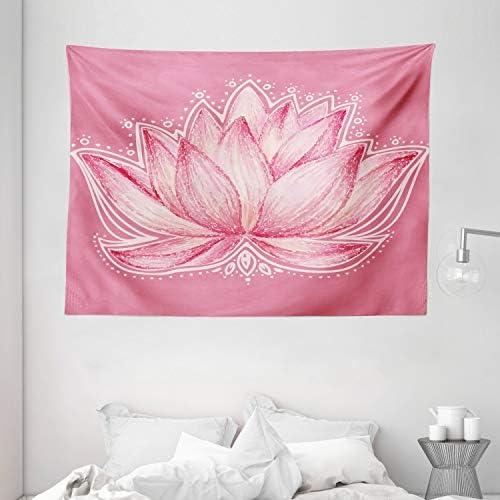 Ambesonne Floral Tapestry, Lotus Flower Meditation Yoga Plant Petal Chakra Print, Wide Wall Hanging for Bedroom Living Room Dorm, 80 X 60 , Pink Cream