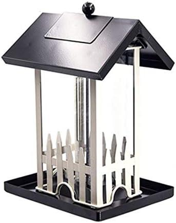 バードフィーダー フリースタンディング簡単クリーニングリフィルバードフィーダークリエイティブハンギングデコレーションバードテーブル屋外用伝統的な金属耐候性バードフィーダーハウスデザイン (色 : ブラック, サイズ : Free size)