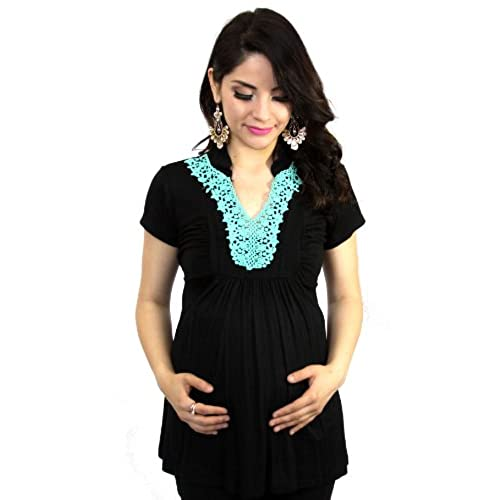 Blue Turquoise Embroidery Black Maternity Womens Short Sleeve Top (Medium)