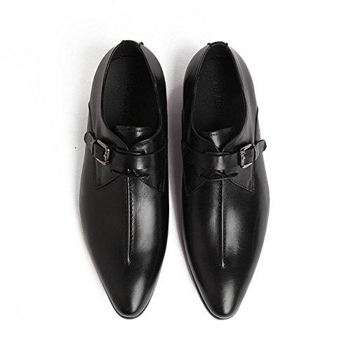 Hommes Cuir Chaussures Formel Mariage Entreprise Pointu Doigt de pied Oxford Lacer Boucle Noir marron Bureau Travail Fête Noir lRUkAj