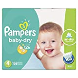 Diapers Size 4 - Pampers Baby Dry Disposable Baby Diapers, 168 Count, Economy Pack Plus