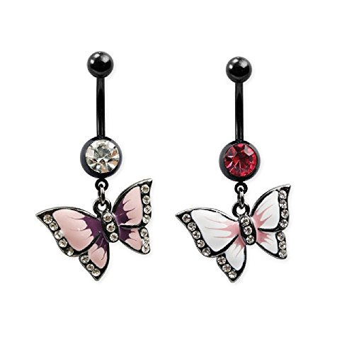 Butterfly Dangling Belly Button Ring in 316L Stainless Steel with Black PVD Plating and CZ Crystal Accents - Available in Multiple Colors (White)