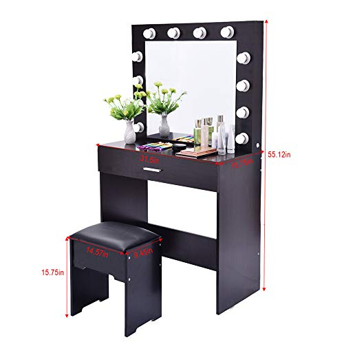 GOTDCO. Vanity Set with Lighted Mirror,Makeup Dressing Table with Storage Drawer & Cushioned Stool,Bedroom Wood Nightstand Wall Mounted Beauty Mirror Lighted Dresser Desk Set for Women (Black Walnut)