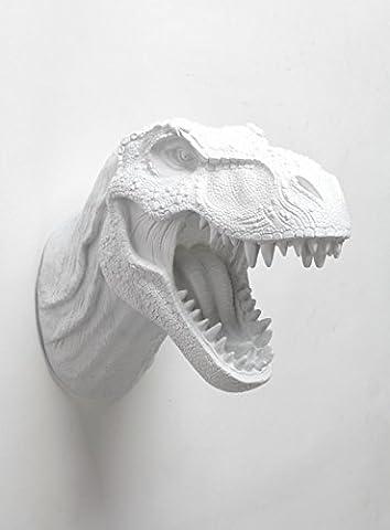 T rex Dinosaur Head Wall Mount - The Bronson Dinosaur Decor By White Faux Taxidermy, White Tyrannosaurus Rex Wall - Dinosaur Head