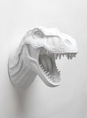 (T rex Dinosaur Head Wall Mount - The Bronson Dinosaur Decor By White Faux Taxidermy, White Tyrannosaurus Rex Wall Art)