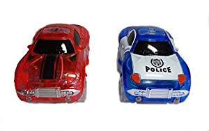 Light Up Toy Car and Police Car (2-Pack) Glow in the Dark Racing Track Accessories Compatible with Most Tracks Including Magic Tracks | Boys and Girls
