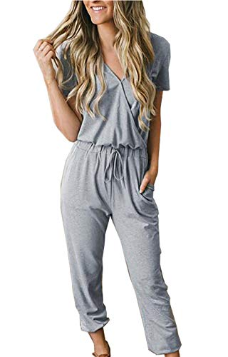 PRETTYGARDEN Off Shoulder Sleeve Hollow Out Sexy Women Bodycon Long Jumpsuit Rompers (Large, 101002 Grey)
