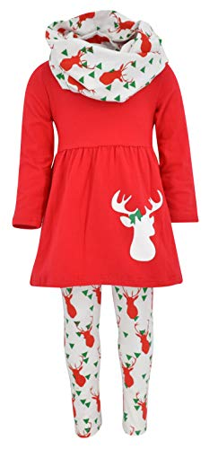 Unique Baby Girls 3 Piece Winter Colors Christmas Reindeer Outfit (7/XXL, Red)