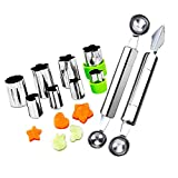 Fruit Vegetable Cutter Shapes Set, Mini Pie and Cookie Stamps Mold(8 pcs) with Melon Baller Scoop & Carving Knife,...