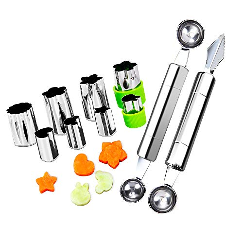 Fruit Vegetable Cutter Shapes Set, Mini Pie and Cookie Stamps Mold(8 pcs) with Melon Baller Scoop & Carving Knife, Stainless Steel, DIY Fun Food Decorating Tools Baking Craft Supplier for Kitchen