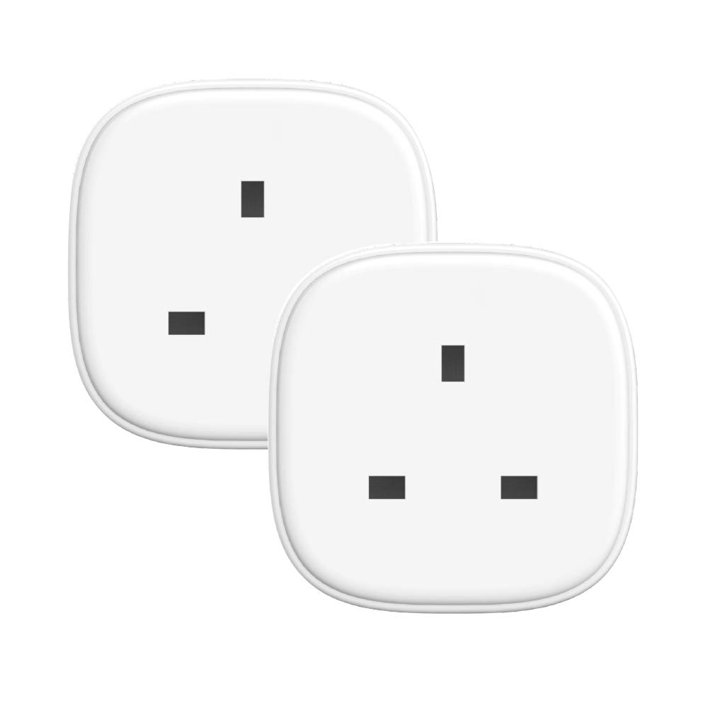WiFi Smart Plug, 2 Pack Remote Control Plug Socket Work with Alexa Google Assistant IFTTT Voice Control Timing Function 13A with Energy Monitor Smart Socket MEROSS