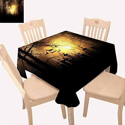 UHOO2018 Polyester Fabric Tablecloth Square/Rectangle Halloween Night Illuminate The Graveyard Summer & Outdoor Picnics,52x 52 inch ()