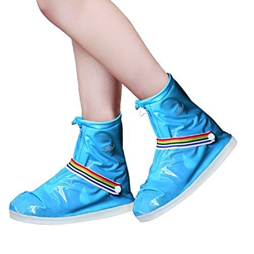 SANKE Rain Snow Shoes Impermeable antideslizante reutilizables cubiertas Mujeres Hombres Niños Azul
