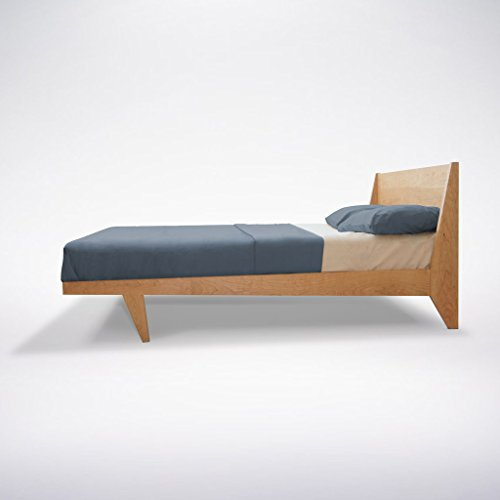 Modern Platform King Cherry Bed Mid Century Solid Wood Handmade Organic