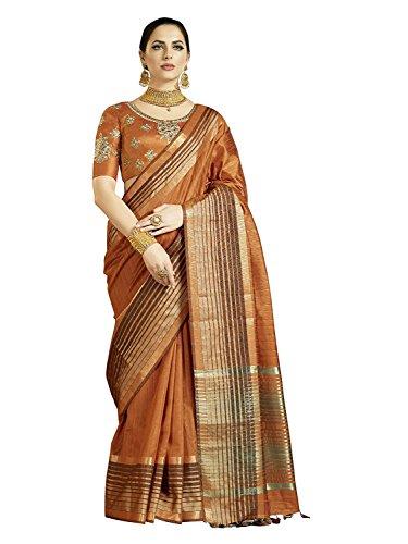 REKHA Ethnic Shop Indian Designer Bollywood Wedding Ethnic Wear Sari for Women's Saree with Un Stitch Blouse A237 Chocolate
