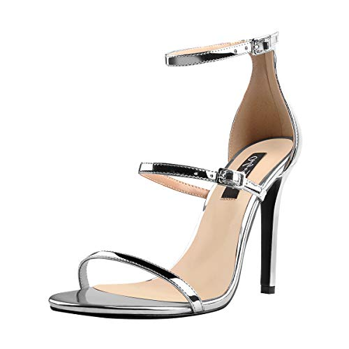 Onlymaker Women's Ankle Strap Stiletto Open Toe Sandals Sexy Triple Strappy High Heel Party Wending Dress Evening Shoes Sliver 10 M US